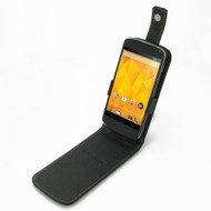 PDair Black Leather FlipTop-Style Case for Google Nexus 4