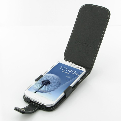 PDair Black Leather Flip-Style Case for Samsung Galaxy S III