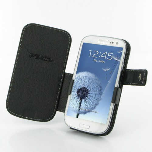 PDair Black Leather Book-Style Case for Samsung Galaxy S III