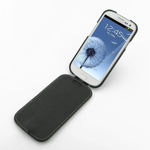 PDair Black Leather Slim FlipTop Case for Samsung Galaxy S III