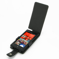 PDair Black Leather Flip-Style Case for HTC 8X