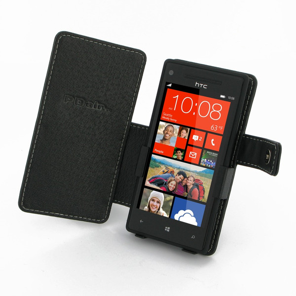 PDair Black Leather Book-Style Case for HTC 8X