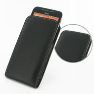 PDair Black Leather Vertical Pouch for HTC EVO 4G LTE