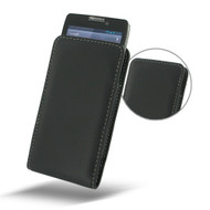 PDair Black Leather Vertical Pouch for Motorola Droid RAZR HD