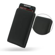 PDair Black Leather Vertical Pouch for Motorola Droid RAZR M