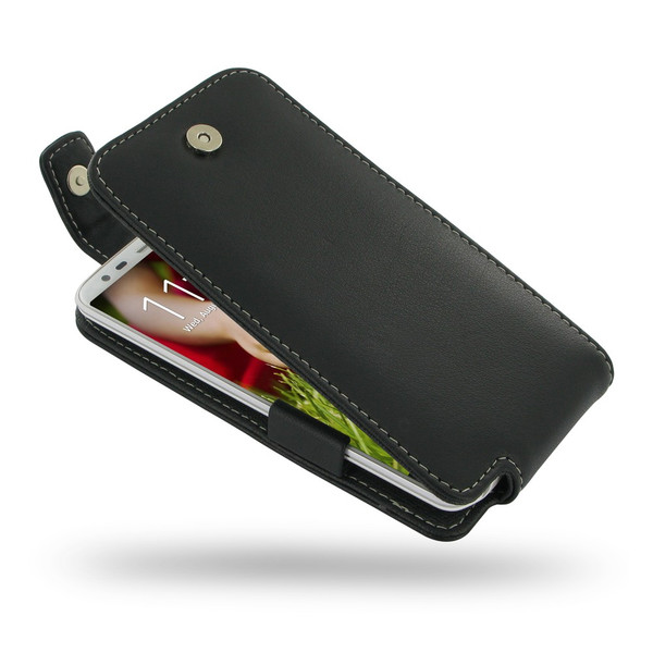 PDair Black Leather FlipTop-Style Case for LG G2
