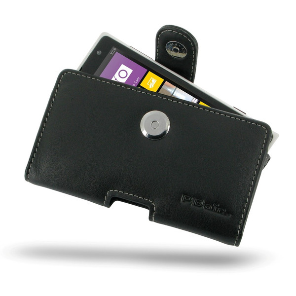 PDair Black Leather Horizontal Pouch for Nokia Lumia 1020