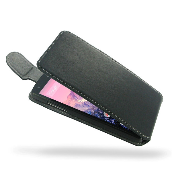 PDair Black Ultra Thin Leather FlipTop-Style Case for Google Nexus 5