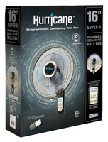 Hurricane Super 8 Oscillating Digital Wall Mount Fan 16 in