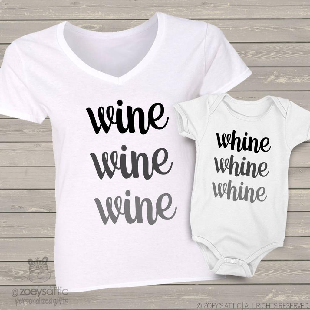 Wine and whine mom baby matching shirt gift set