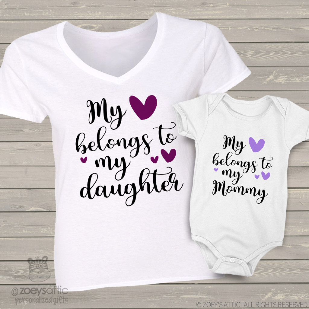 custom mom daughter shirts, heart belongs two shirt gift set