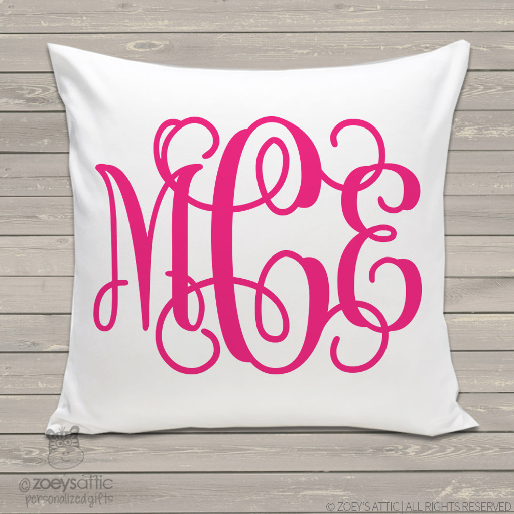 Custom Monogrammed Throw Pillows : personalized throw pillow, monogram girl, custom pillowcase