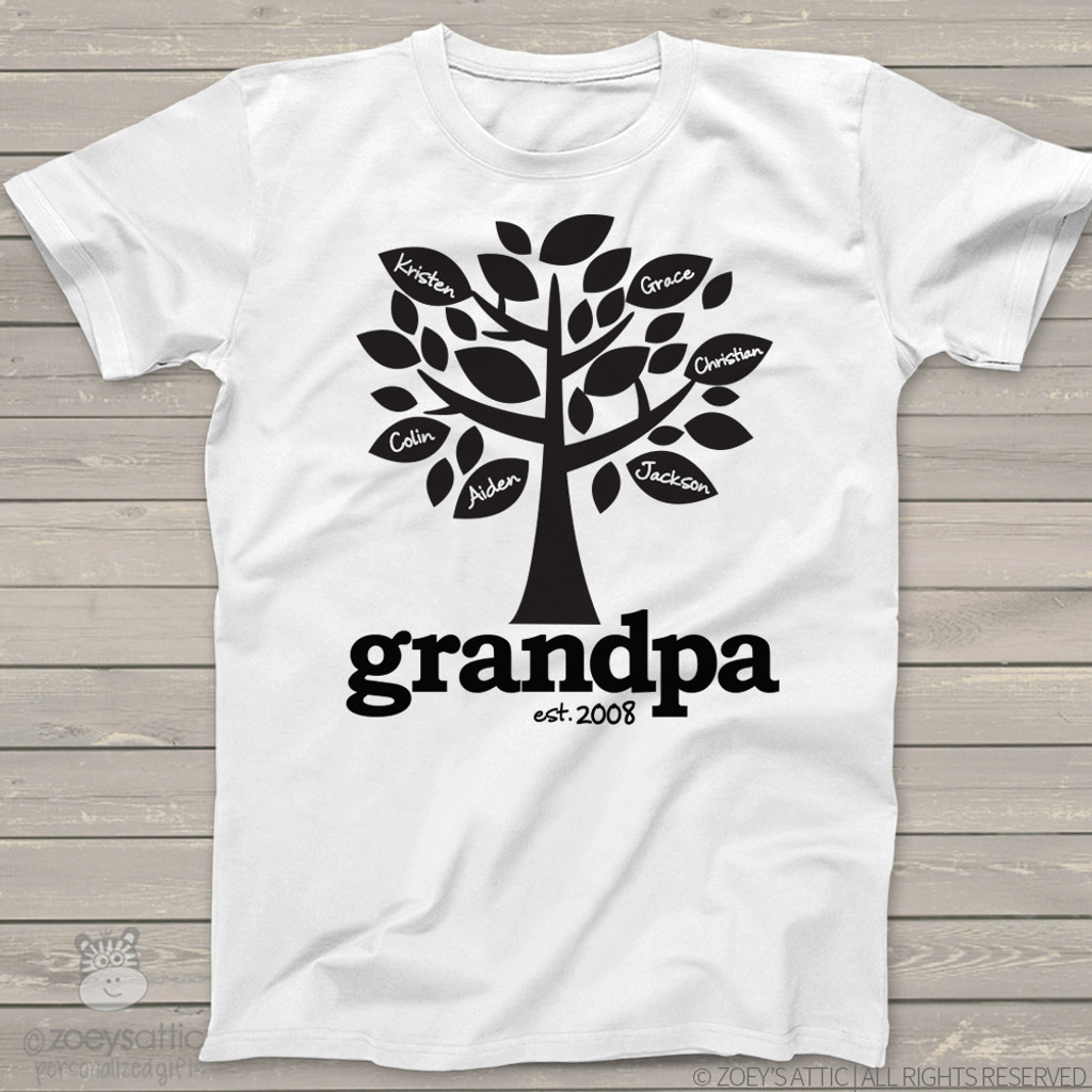 Grandpa shirt established any year family tree personalized Tshirt