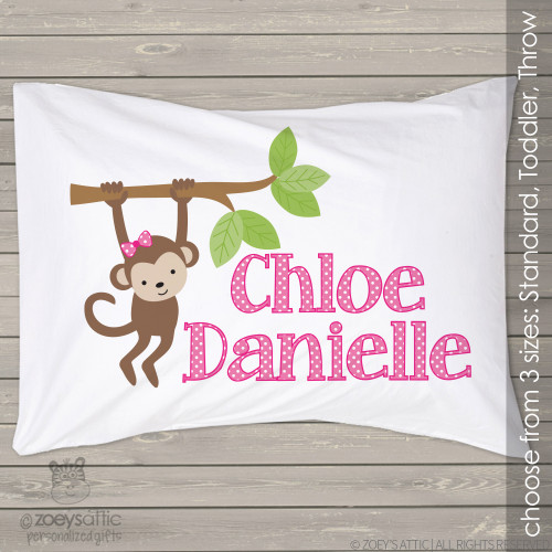 Personalized girl monkey travel or toddler pillow and pillowcase