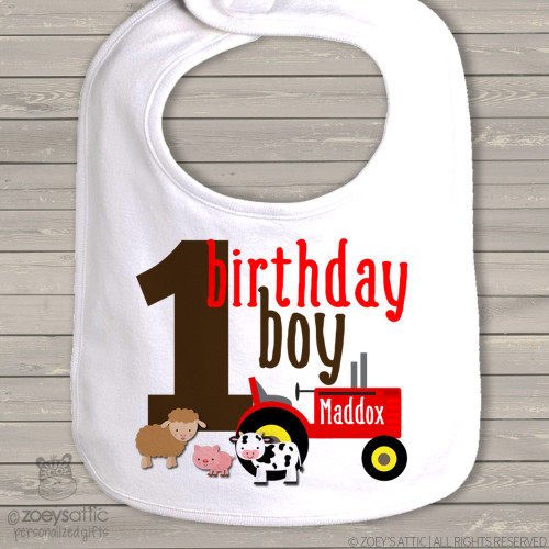 First birthday bib farm first birthday cake smashing tractor bib