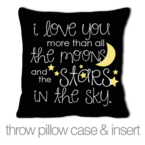 i love you more than all the moons and stars custom throw pillow with black fabric pillowcase