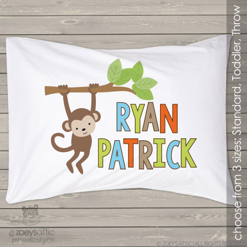 Monkey boy personalized pillowcase / pillow