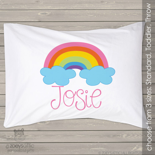 Colorful rainbow and clouds personalized pillowcase / pillow