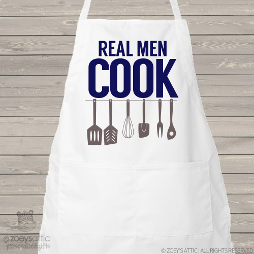 Apron dad or grandpa real men cook funny adult custom bib apron