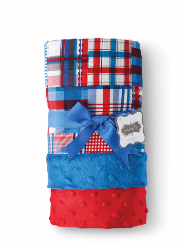 Plaid Blanket Reversible Minky Monogrammable Blanket by Mud Pie