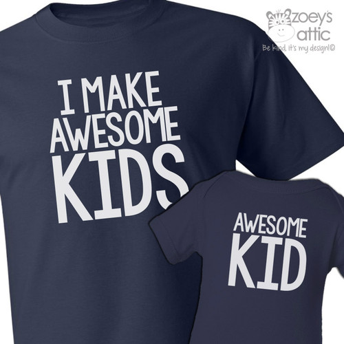 I make awesome kids dad Tshirt and awesome kid (or baby) bodysuit custom DARK gift set