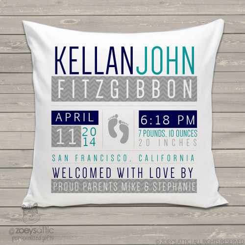 Birth announcement pillow footprints custom throw pillow with pillowcase