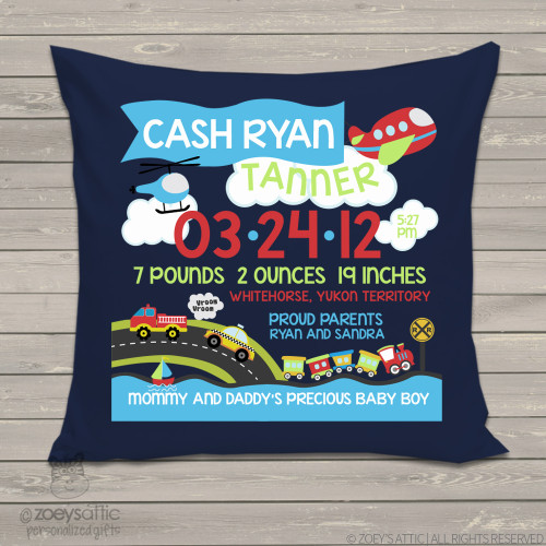 Birth announcement pillow transportation theme with plane, care, train custom throw pillow with NAVY pillowcase