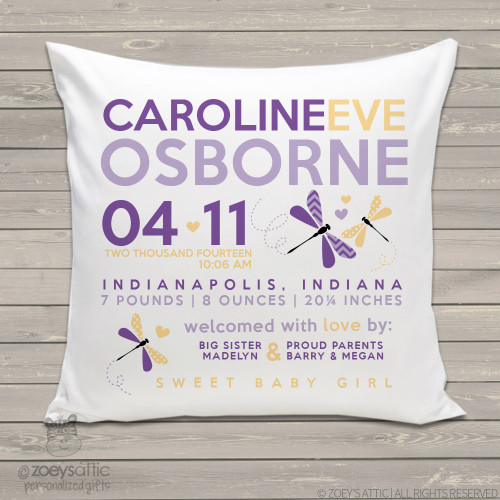 Birth announcement pillow dragonfly custom throw pillow with pillowcase