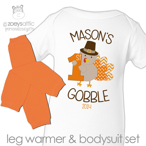 First Thanksgiving bodysuit 1st gobble personalized bodysuit and matching leg warmer set