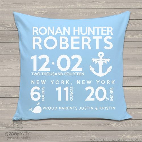 Birth announcement pillow whale with anchor nautical theme custom throw pillow with medium Blue or Navy pillowcase