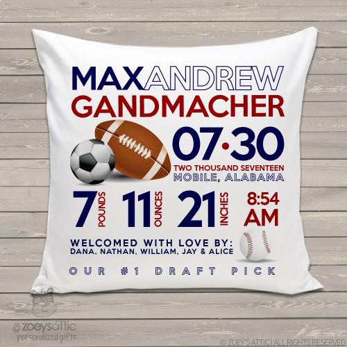 Birth announcement pillow sports football, soccer ball, baseball custom throw pillow with pillowcase