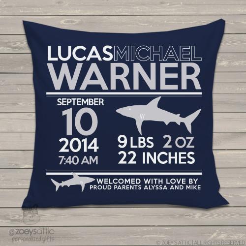 Birth announcement shark custom throw pillow with DARK fabric pillowcase