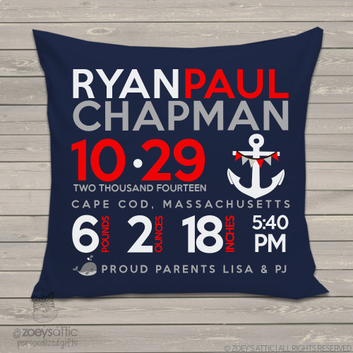 Birth announcement pillow whale with anchor nautical theme custom throw pillow with DARK fabric pillowcase