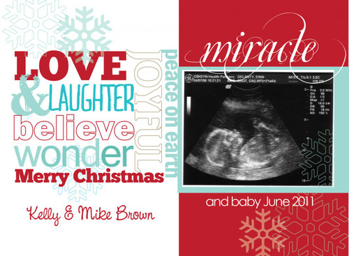 Custom ultrasound pregnancy announcement cards