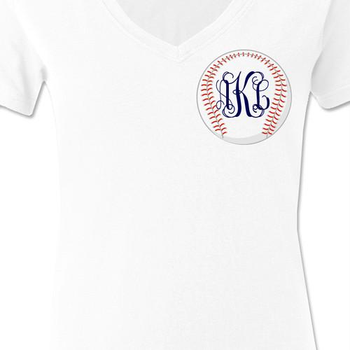 Baseball traditional monogram womens shirt