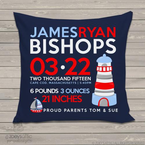 Lighthouse birth announcement pillow DARK
