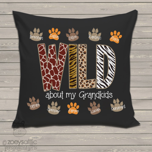 Wild about grandkids DARK throw pillow