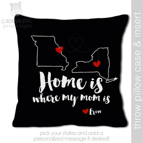 Home is mom DARK throw pillow