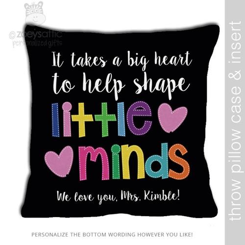 Little minds teacher DARK throw pillow