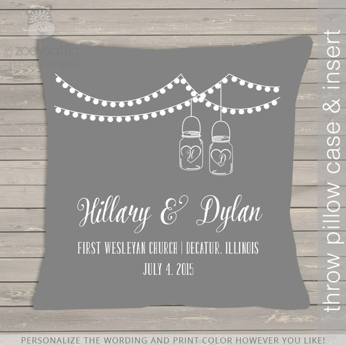Wedding custom throw pillow with DARK pillowcase