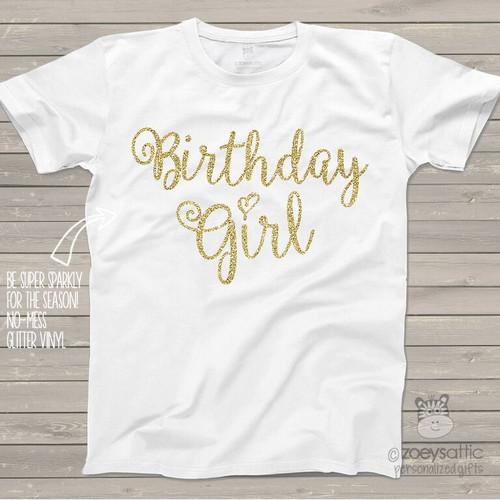 Birthday girl sparkly glitter Tshirt or bodysuit