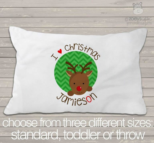 Christmas reindeer personalized pillowcase / pillow