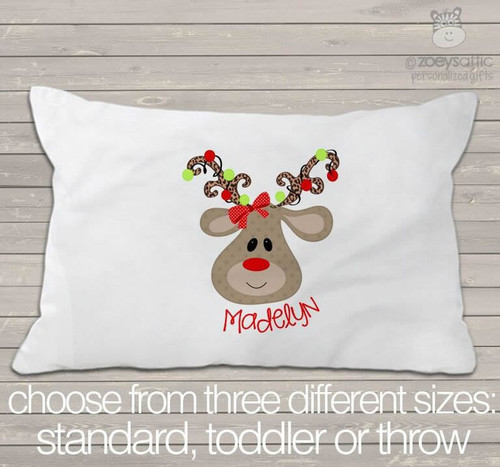 Christmas reindeer girl personalized pillowcase / pillow