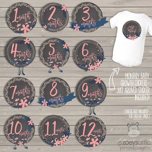 Monthly baby onesie stickers pink flowers