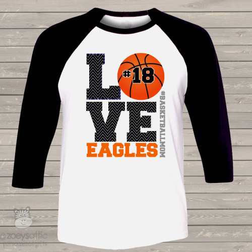 Basketball mom three quarter raglan shirt LOVE