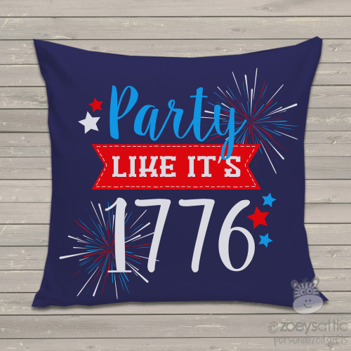 Funny party like it's 1776 navy fabric throw pillow