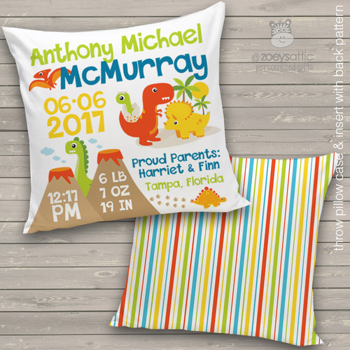 Birth announcement pillow dino custom throw pillow with back pattern