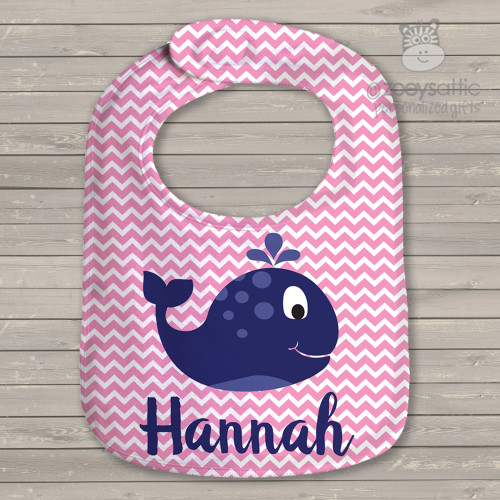 Whale nautical girls personalized bib