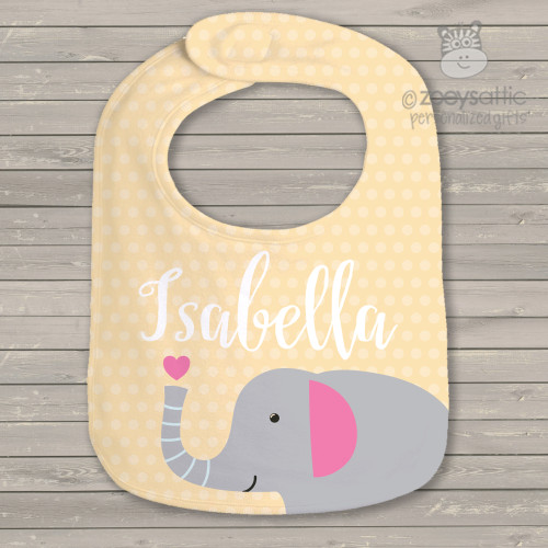 Elephant polka dot heart girls personalized bib
