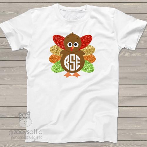 Thanksgiving turkey monogram glitter Tshirt